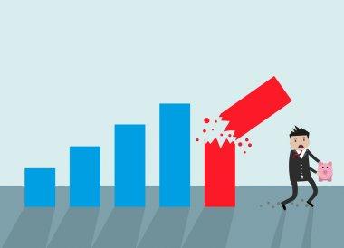 Businessman running away broken graph