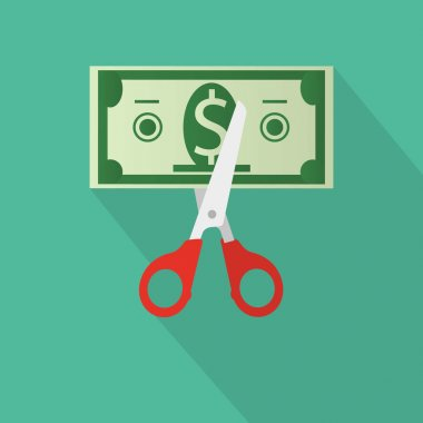 Scissors cutting money bill