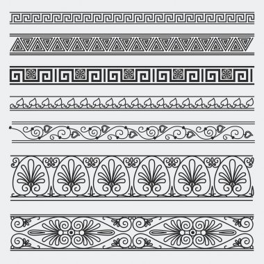Greek seamless patterns, textures, black on a gray background pa