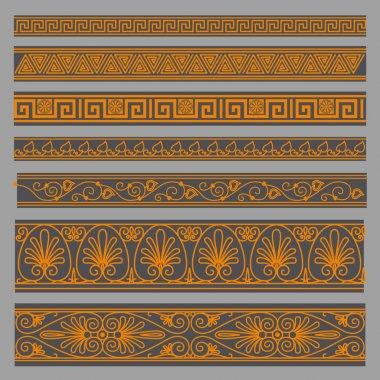 Greek seamless patterns, textures, orange on a gray background p