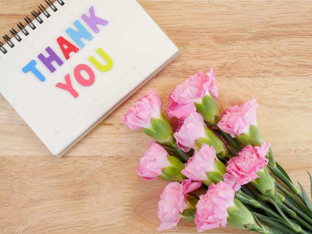 Word spell Thank you and Carnation flower 7 — Stock Photo ...