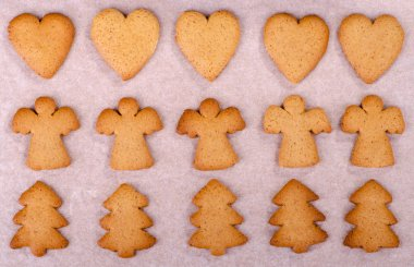 Cooked Christmas gingerbread cookies with ginger