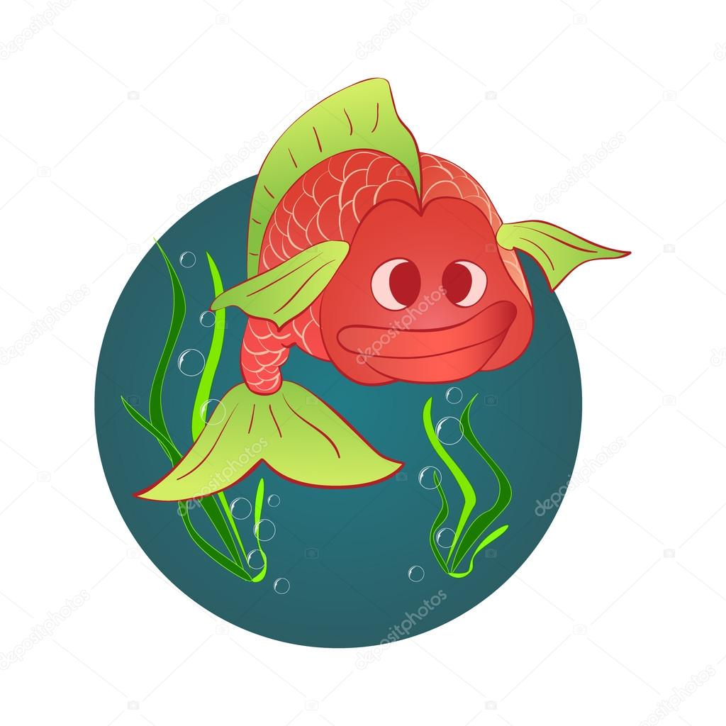 Red fish and a shell with a pearl