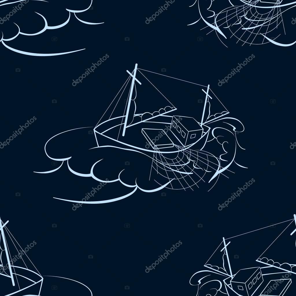 A fishing ship. Seamless background