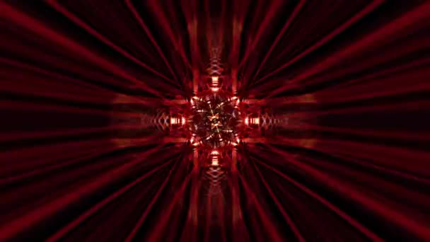 Beautiful abstract futuristic background with red light rays moving elements. 4K 3d animation digital art concept. Looped sci-fi background with complex radiant light rays kaleidoscope effects.