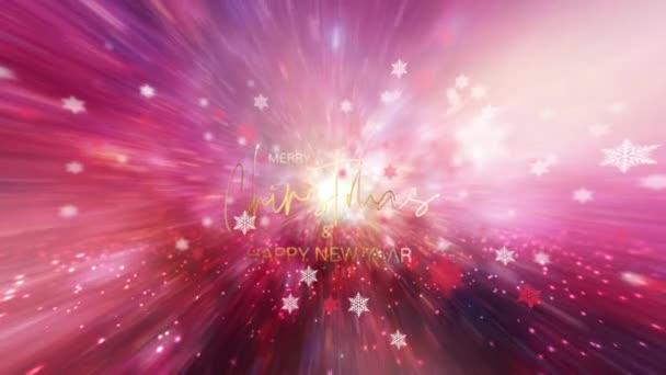 Boldog karácsonyt Boldog új évet arany szöveg egy gyönyörű rózsaszín ég tipográfia elit háttér ragyogó hópelyhek. 4K 3D Fényes és ragyogó nyaralás háttér. Karácsonyi ünnepség.