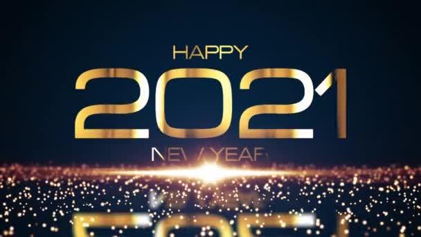 Boldog 2021 Új Évet arany szöveg ragyogó csillogó részecskék hatása és ragyogó arany fáklya fény. 4K 3D zökkenőmentes hurkolás mozgás design újévi ünnepek arany színű fény csillogás háttér
