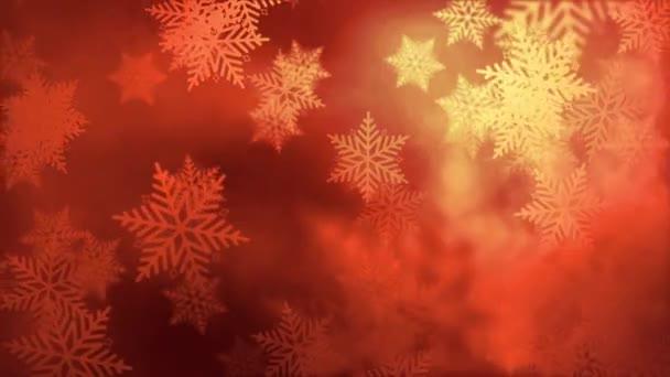 Horní pohled padající zlaté sněhové vločky pozadí smyčka s efektem bokeh a selektivní zaměření. 4K 3D bezešvé smyčka Slavnostní Vánoce a Silvestr animace koncept jako jasně zlaté abstraktní pozadí.