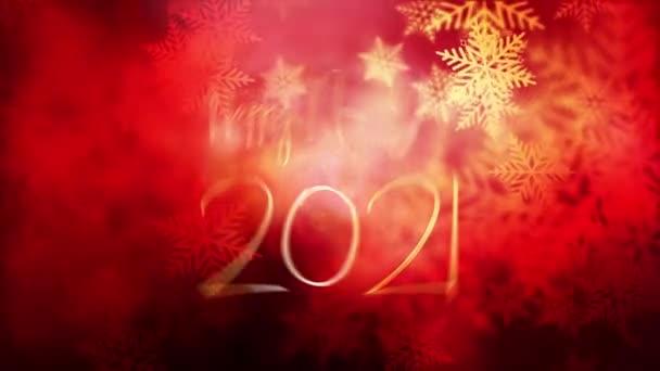 2021 Šťastný Nový rok pozdrav animace s krásnými zlatými částicemi bokeh sněhové vločky červené pozadí a krásné světlice. 4K 3D Ilustrace 2021Nový rok název intro festival dekorace oslavit