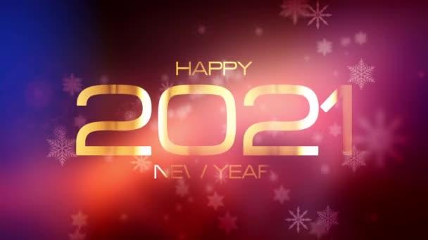 Šťastný nový rok 2021slavnostní pozadí koncepce. 4K 3D Beautiful Falling Snowflake Happy New Year magické světlice únik světla. Šťastný nový rok 2021 zlatý zářící text na rozmazaném blikajícím zimním světle.