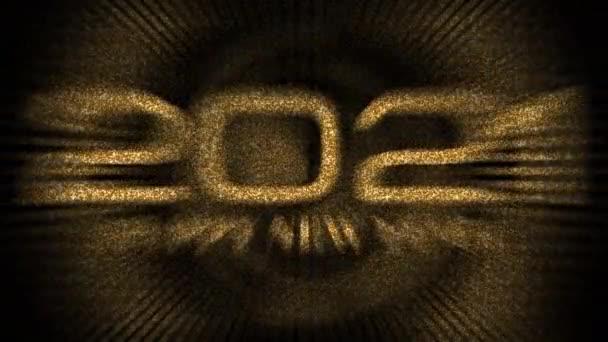 2021 Šťastný nový rok Zlaté třpytivé částice text se zlatým světlem Bokeh 4K 3D animace. 2021 Šťastný Nový rok záběry pro překrývání vašeho videa. Zlatý barevný bokeh abstraktní party oslava.