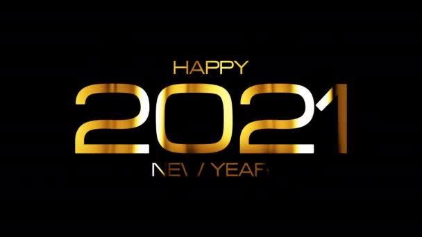 Boldog új évet 2021 fényes arany szöveg looping fény izzó hatása animáció fekete. 4K 3D varrat nélküli hurok tipográfia design. 2021 újév ünnep fesztivál jel arany színű szöveges elem.