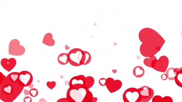 4K Looped White és Red Hearts Looped Animation fehér háttérrel. Romantikus szív minta Valentin napra, anyák napjára, házassági évfordulóra. Esküvői meghívó e-card, Love Holiday Ünnep.