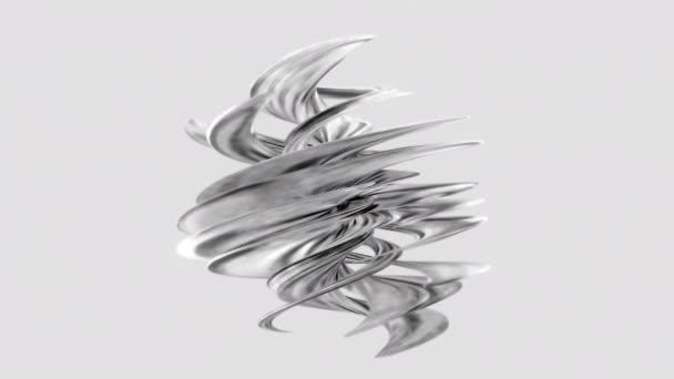 4K 3D-s renderelés absztrakt művészet szürreális szerves tárgy örvény görbe kerek hullámos alak forgó zökkenőmentes hurok fehér háttér. Monokróm absztrakt animáció. 3D digitális művészet, generatív művészeti tárgy.