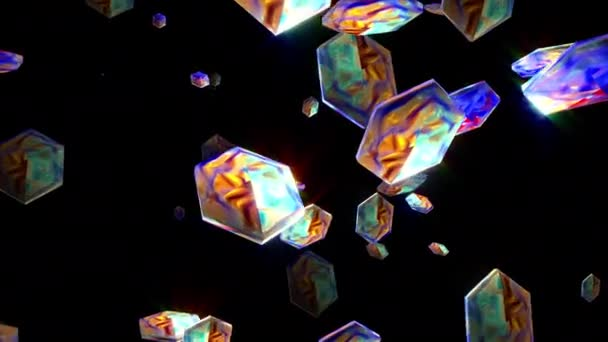 Animated abstract modern technology background with colorful multicolored decorative 3D hexagonal prisms particles floating randomly and shine in air on black background. 4K 3D render seamless loop.