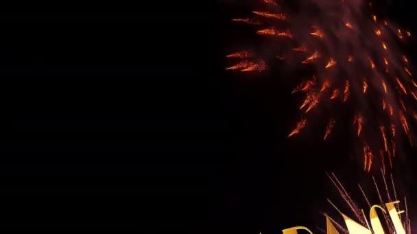 CLEARANCE ELADÓ arany szöveg tűzijáték részecskék mozgás grafikus hatása a fekete háttér. 4K 3D varrat nélküli hurok kalligráfia arany szöveg szó és színes szikra tűzijáték reklám, értékesítés promóció