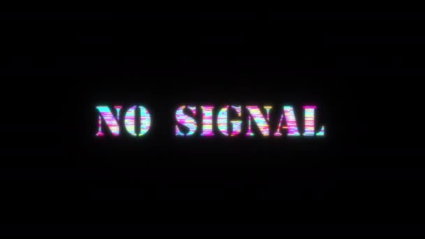 3D animation of No SIGNAL colorful glitch text effect 3D Flash animation loop with flicker light. 4K 3D seamless looping NO SIGNAL kinetic cylinder glitch effect element for intro, title banner