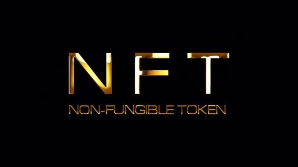 NFT Non Fungible Token glitch text effect with gold light glowing loop animation. 4K 3D isolated QuickTime Alpha Channel ProRes 4444 seamless loop NFT Non-Fungible Token text glitch effect element.