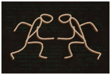 The Dance. Primitive handmade drawing.