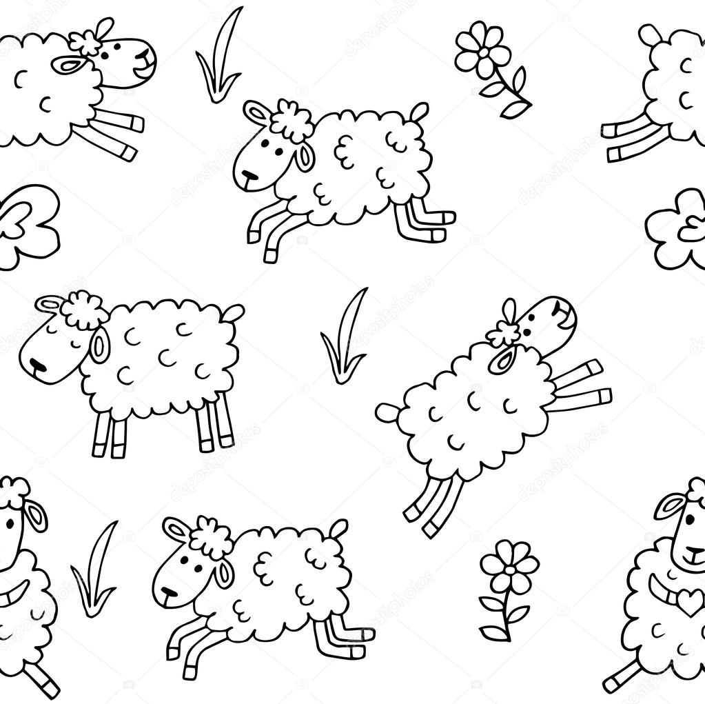 Seamless Pattern With Sheep For Coloring Stock Vector C Stellal