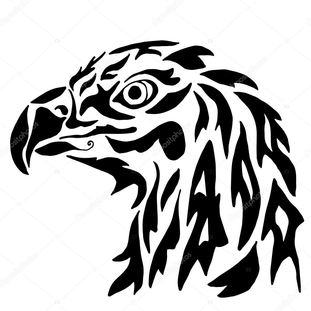 Águila para colorear o tatuaje aislado sobre fondo blanco — Archivo ...
