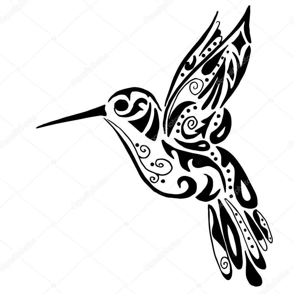 beija flor para colorir ou tatuagem isolado no fundo branco