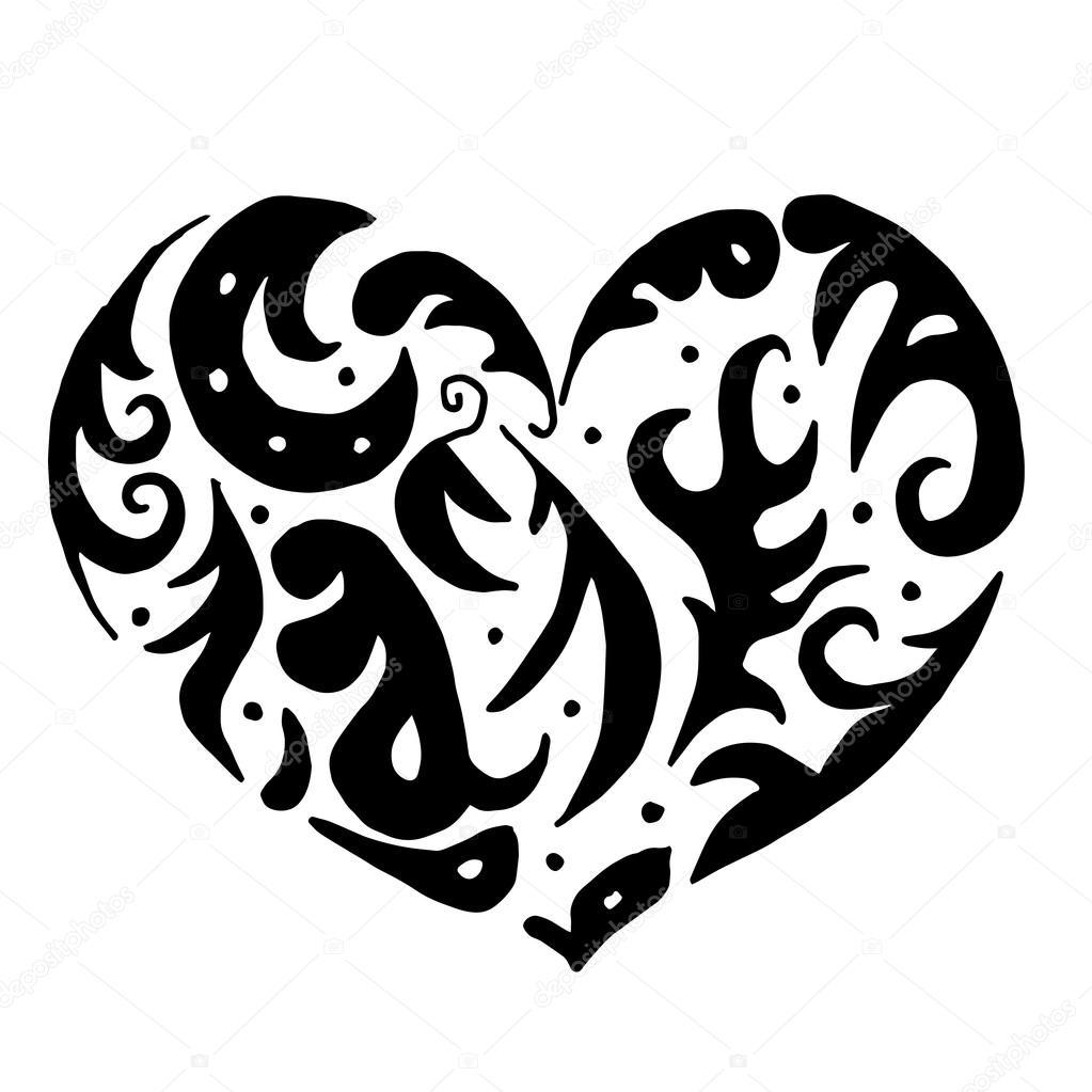 corazón para colorear o tatuaje aislado sobre fondo blanco — Vector ...