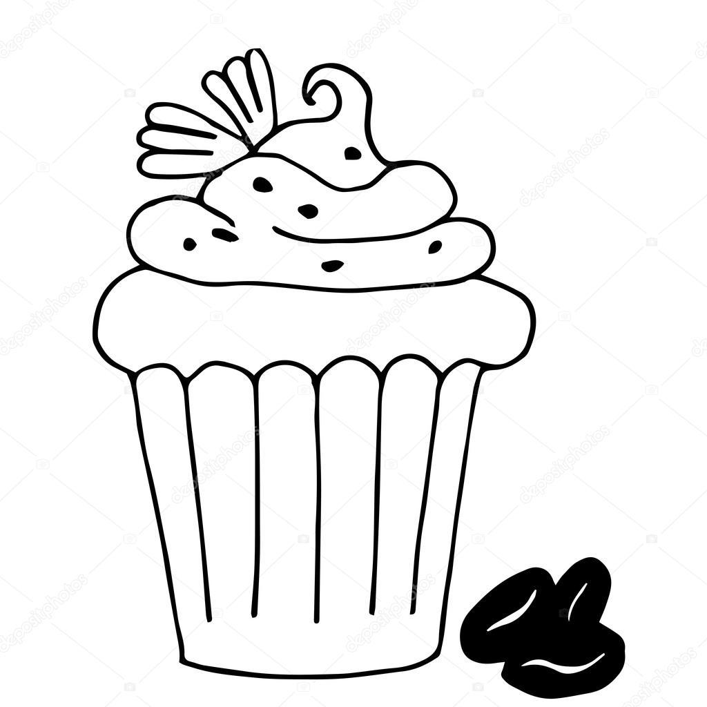 Kuchen Mit Kaffee Kuchen In Isoliert Auf Weissem Bac Umriss