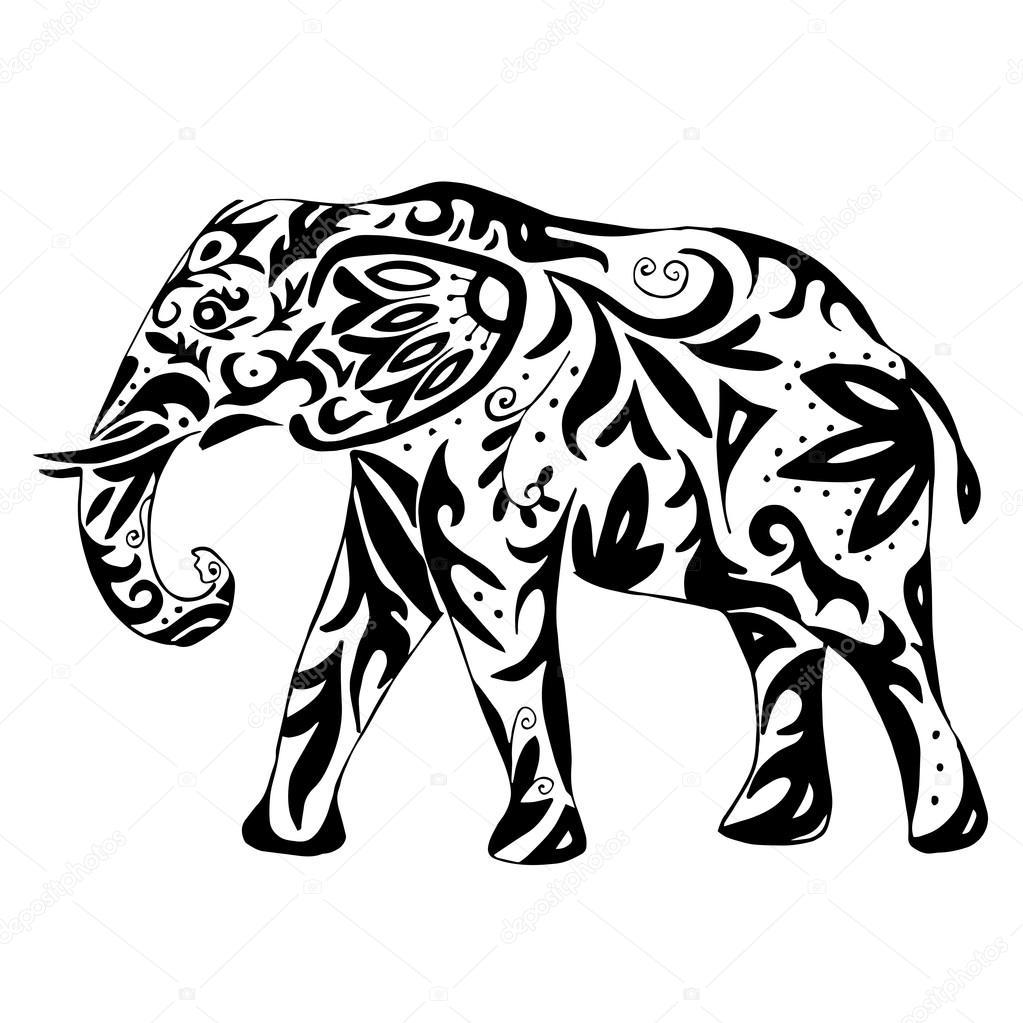 Elefante indio alta calidad dibujado con adornos para colorear o ...