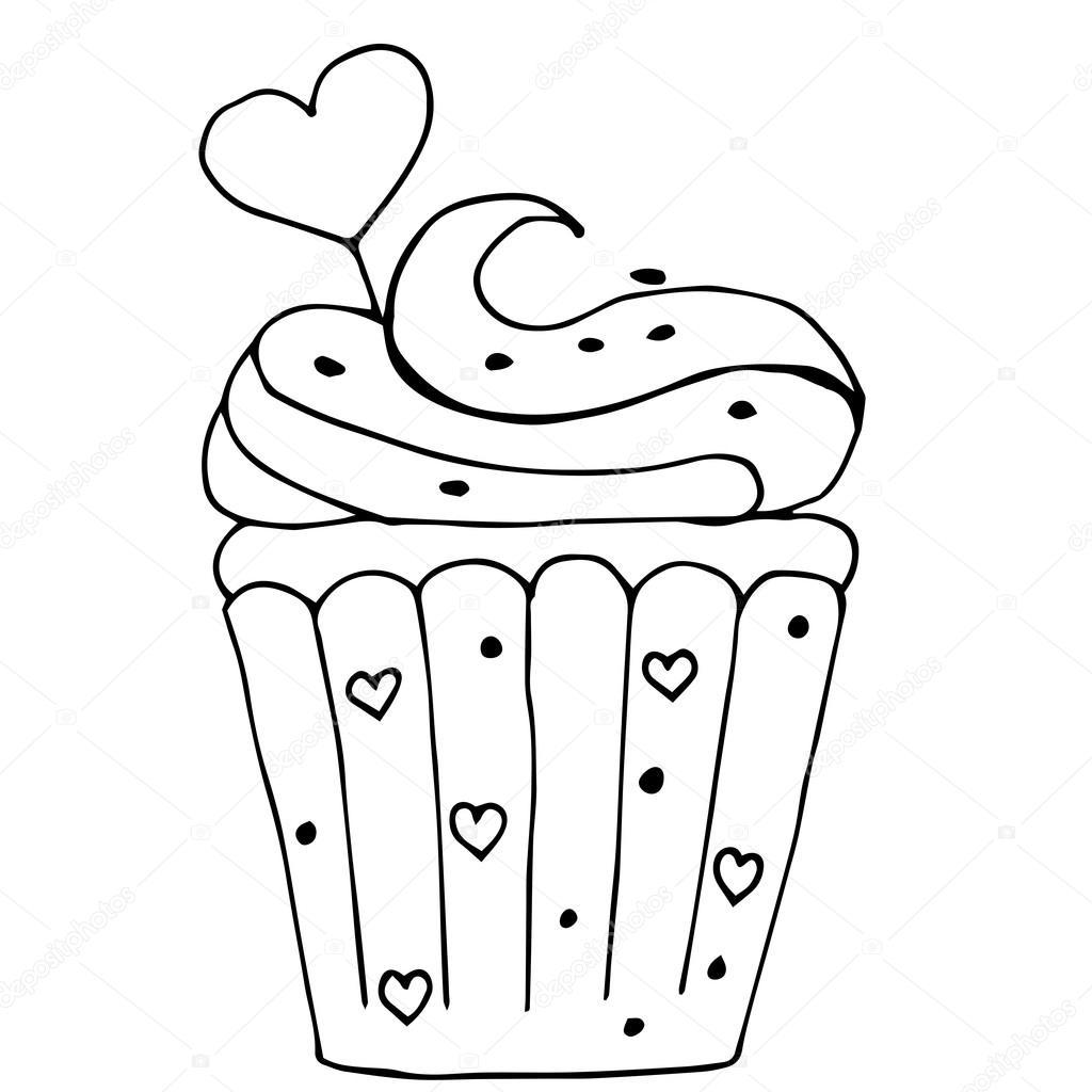 kuchen mit herz cupcake in umriss gezeichnet isoliert auf