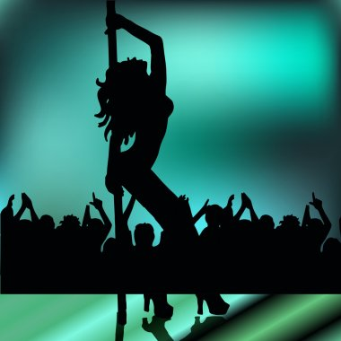 High quality girl striptease in club; poledance; go-go dance