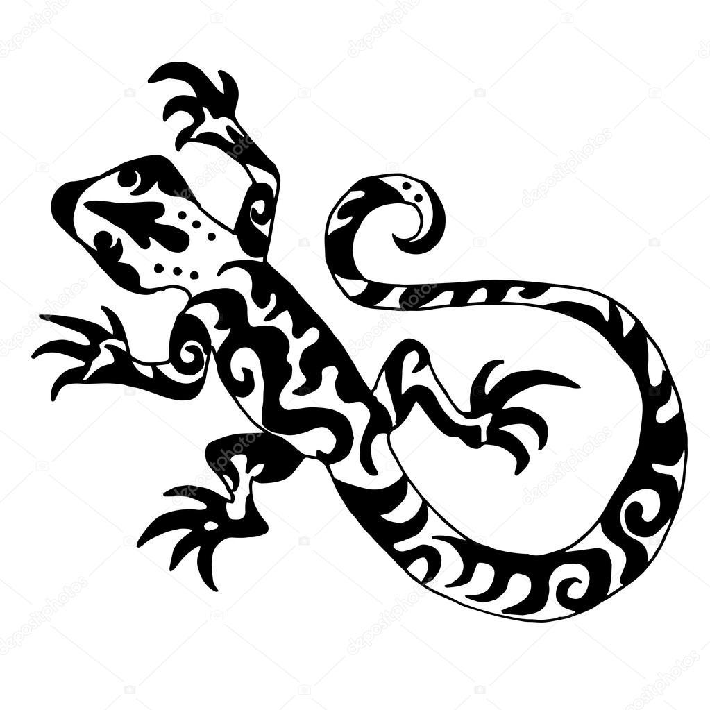 Hiqh Quality Origanl Lizard Or Salamander Drawn For Coloring Or