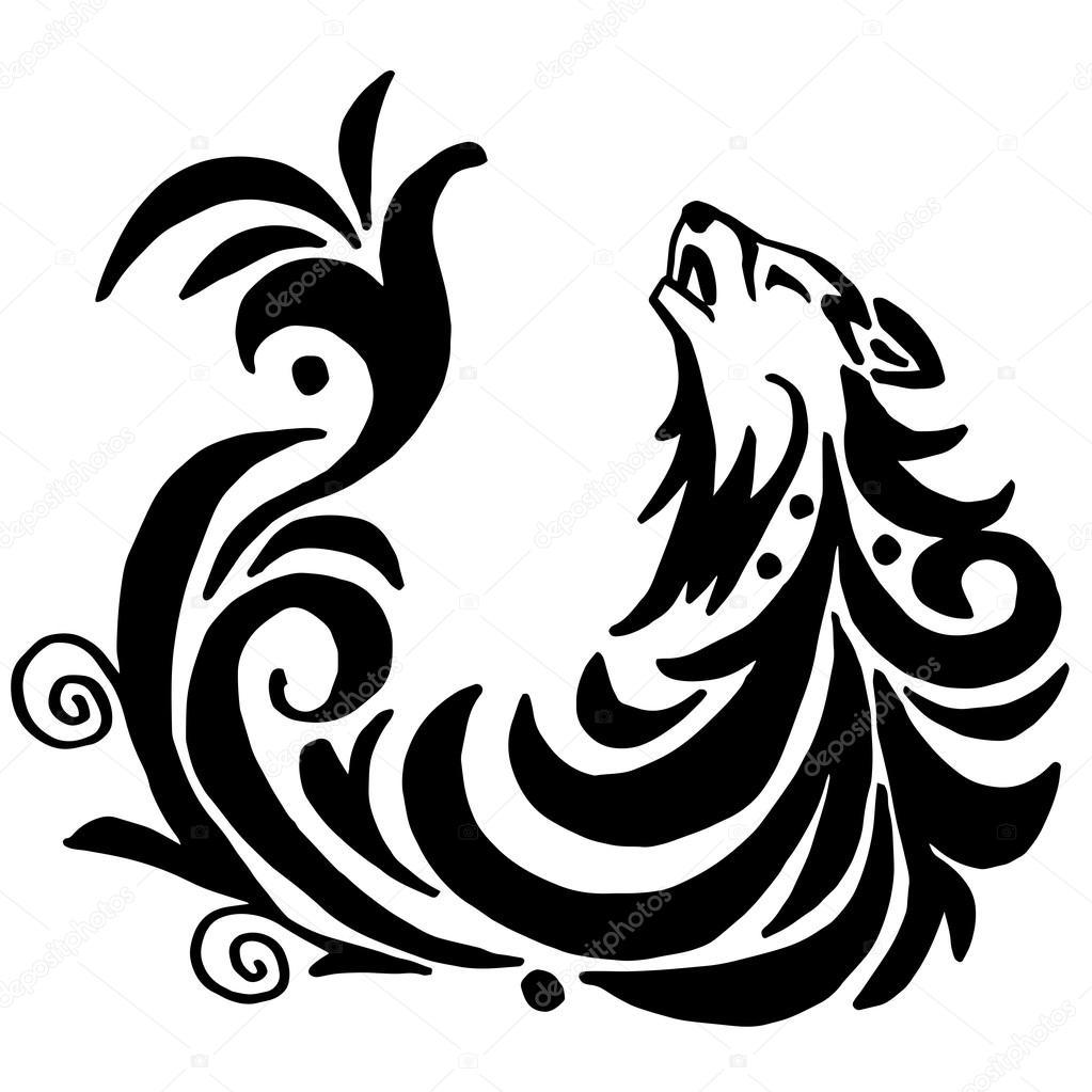 高品質オリジナル狼タトゥー イラスト白で隔離 ストックベクター