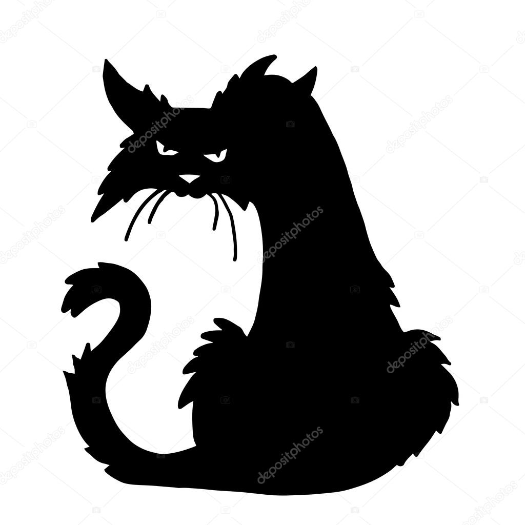 black cat templates for halloween - trendy vector scary halloween cat stock vector stellal