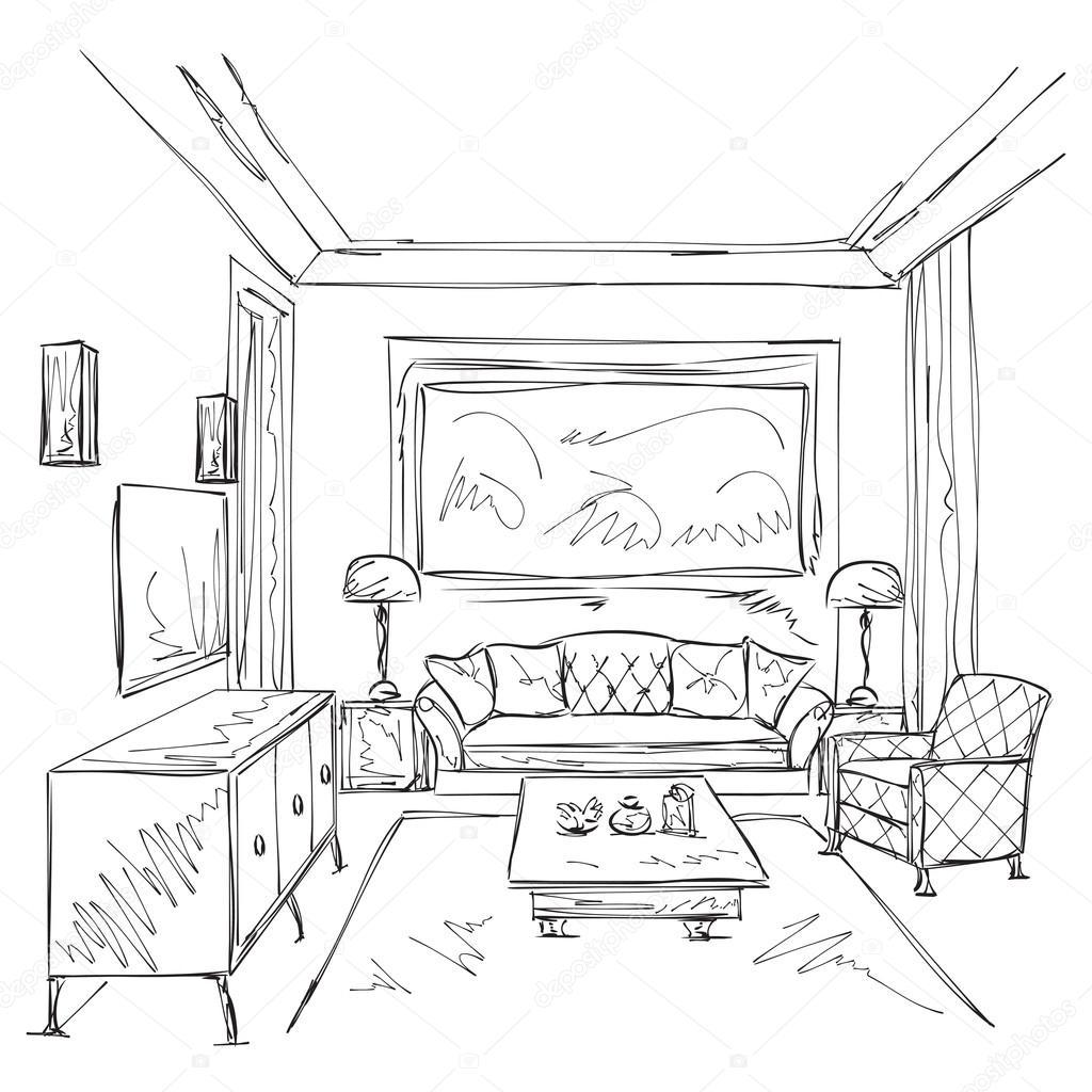 Moderne Innenraum Skizze Stuhl Und Mobel Stockvektor