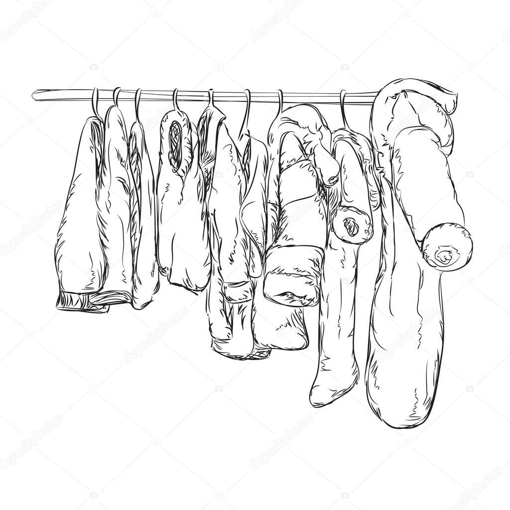 Ropa para niños y niñas. Boceto de armario — Vector de stock ...