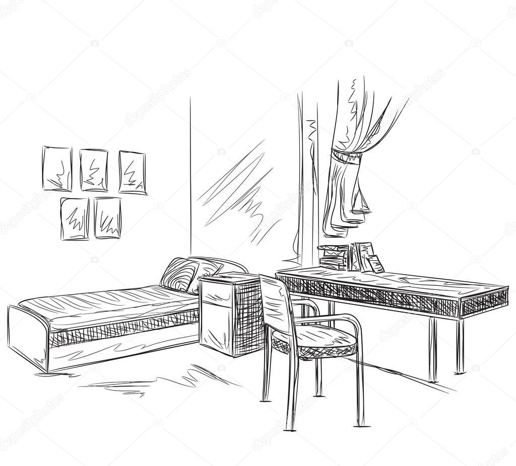 Dibujo interior de la habitaci n dormitorio con lugar de for Habitacion dibujo