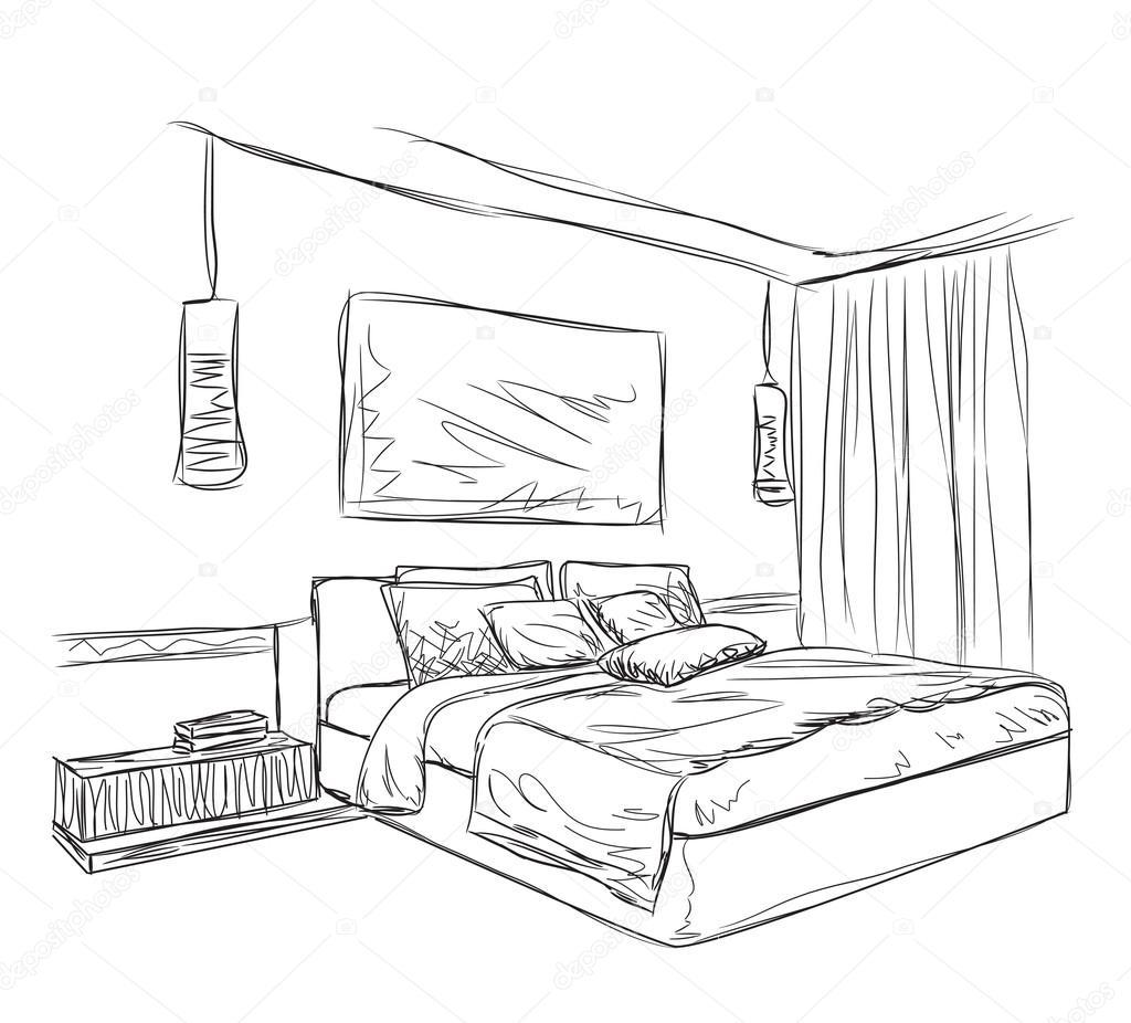 Croquis int rieur moderne chambre coucher image - Croquis chambre a coucher ...