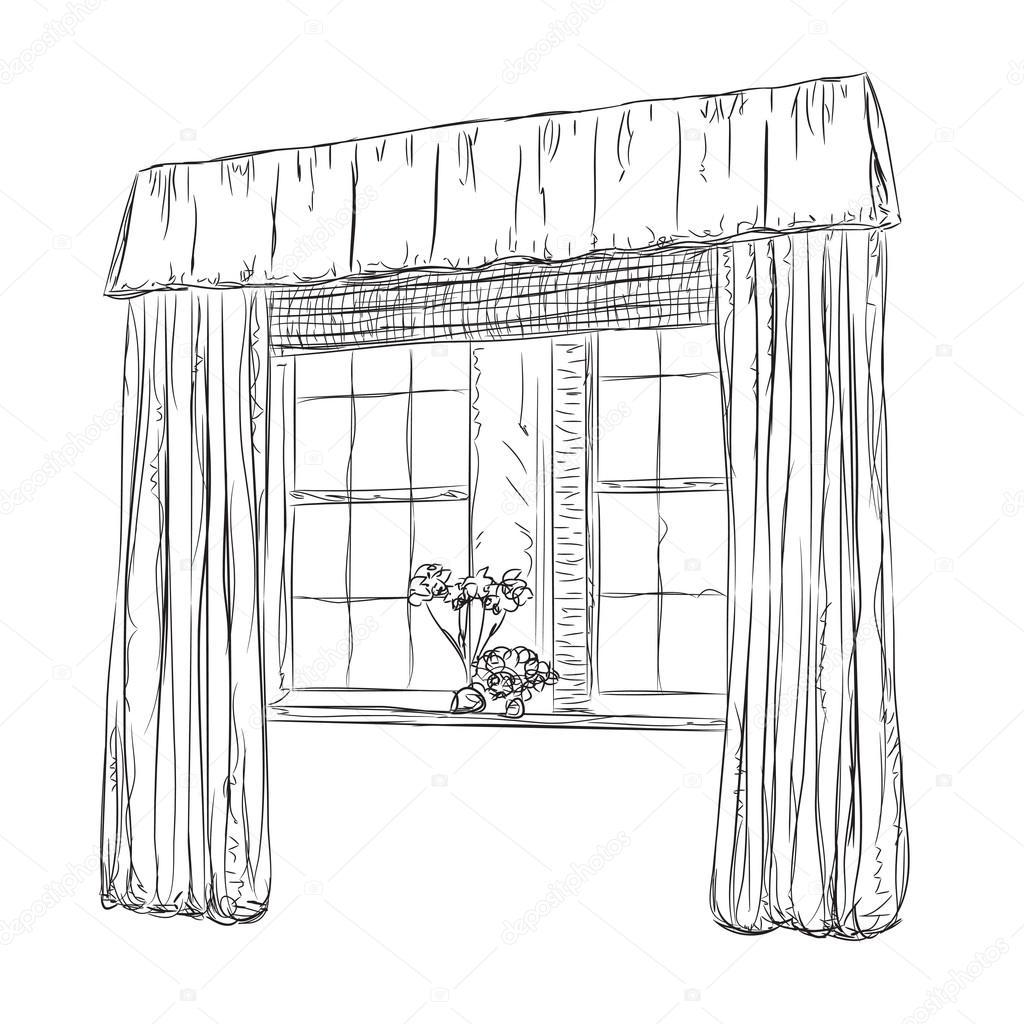 Hand Drawn Windows Sketch. Curtains In The Interior U2014 Vector By Yuliia25