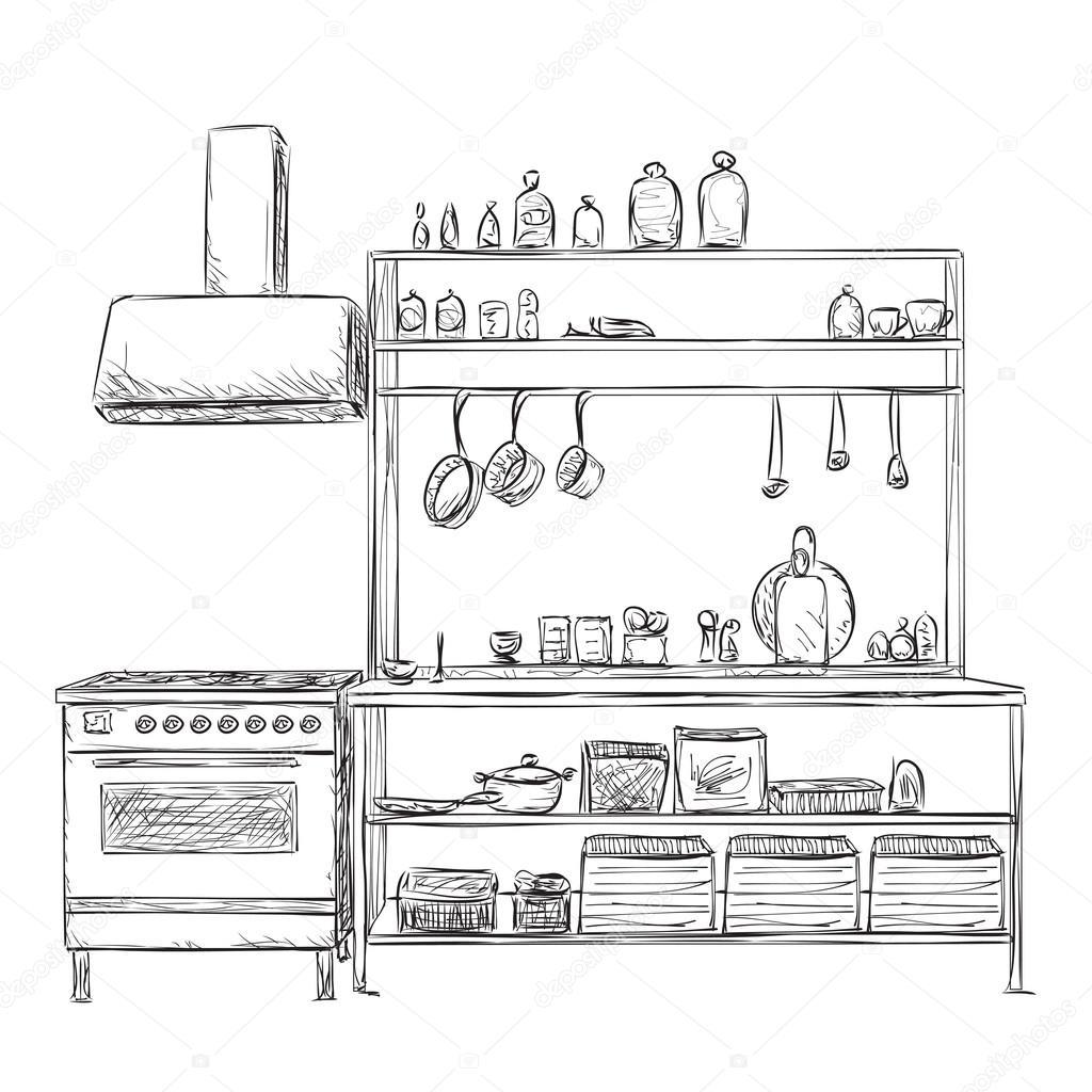 Armario de la cocina. Dibujo de muebles — Archivo Imágenes ...
