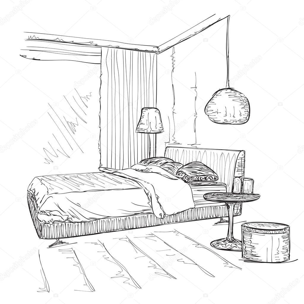 dessin esquisse le vectoriel int rieur modern chambre coucher image vectorielle yuliia25. Black Bedroom Furniture Sets. Home Design Ideas