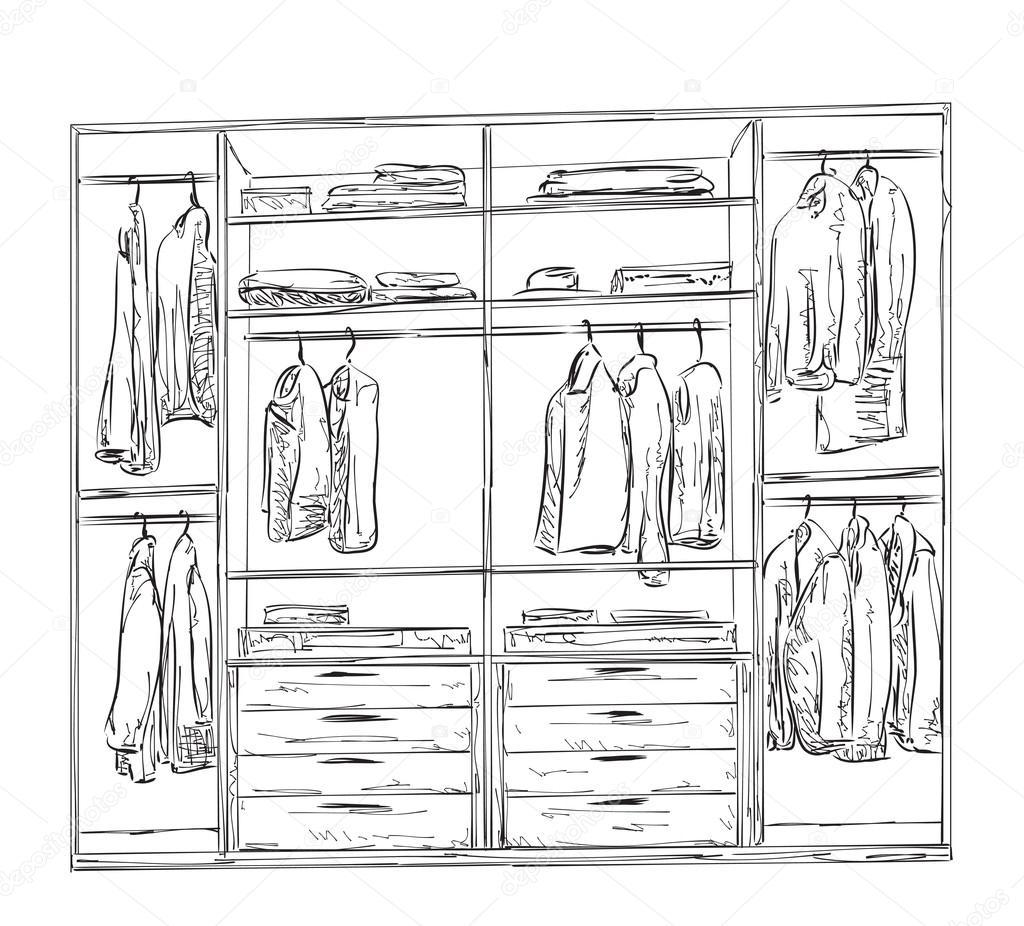 картинка раскраска шкаф с одеждой мне стать