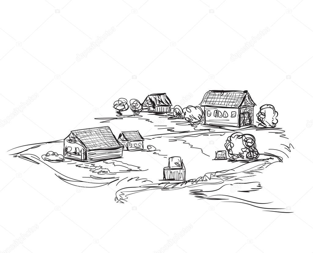 Line Art Village : Houses in village landscape sketch — stock vector