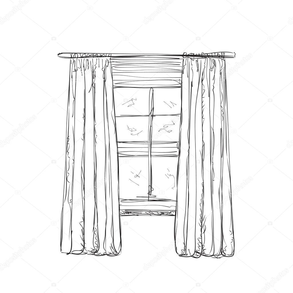 Ilustraci n de dibujo de la ventana y las cortinas - Dibujos para cortinas ...