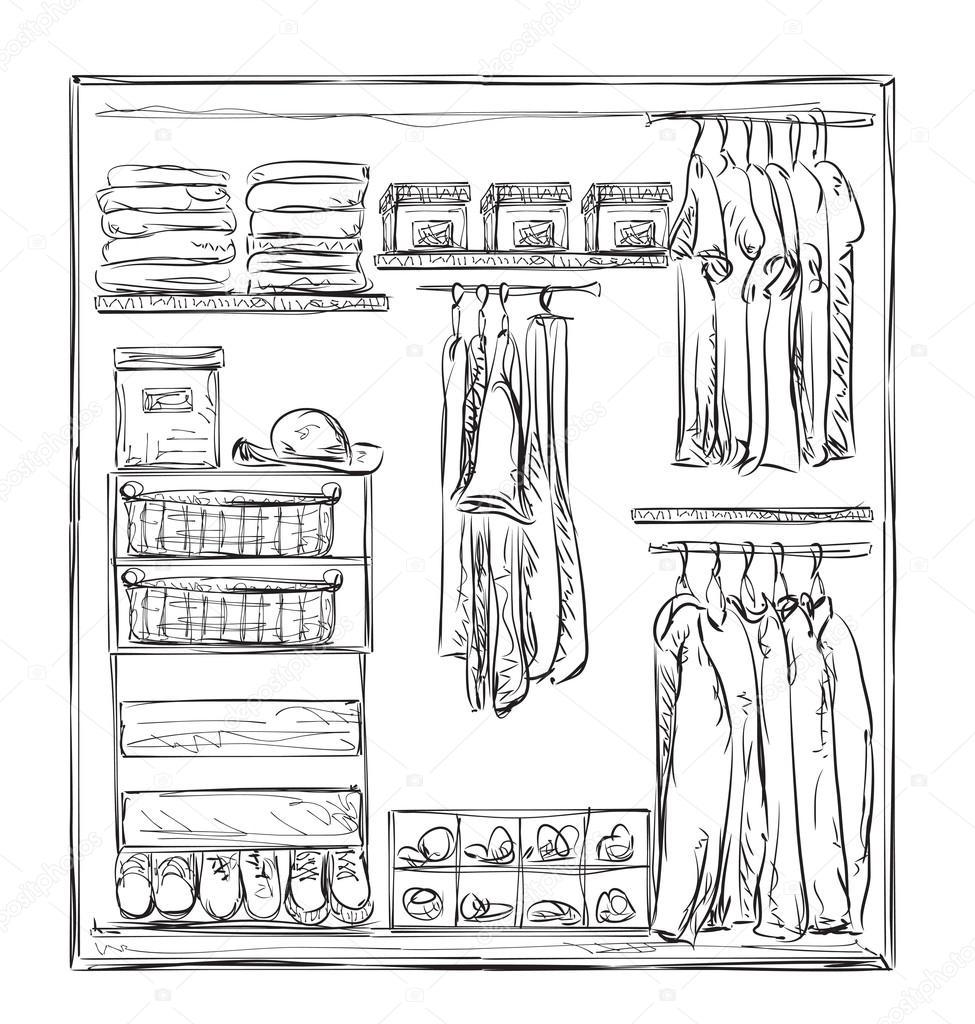 Kleiderschrank gezeichnet  Hand-gezogene Kleiderschrank-Skizze. Kleidung — Stockvektor ...