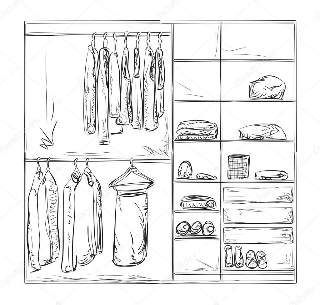Kleiderschrank gezeichnet  gezogene Kleiderschrank-Skizze — Stockvektor #109575818
