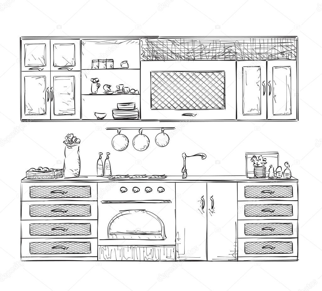 Gezeichnete Küche Möbel — Stockvektor © Yuliia25 #109945608