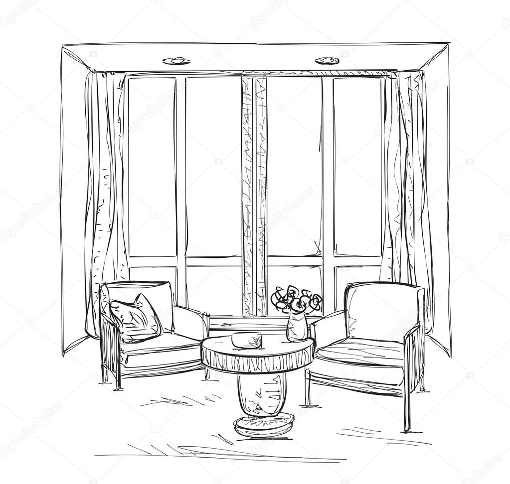 Room Interior Sketch. Hand Drawn Chairs.
