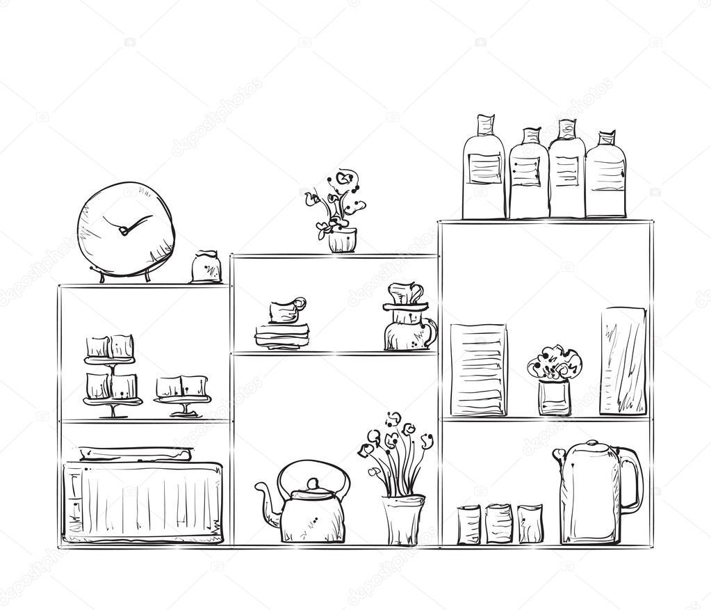 Schrank gezeichnet  gezeichnet Schrank mit Geschirr — Stockvektor #115008324
