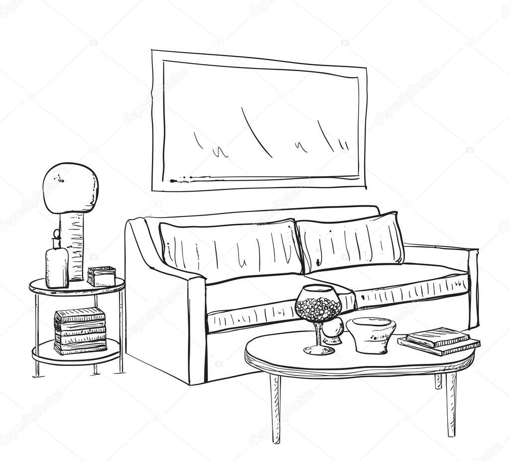 Hand gezeichnete skizze des modernen wohnzimmer interieur for Wohnzimmer clipart